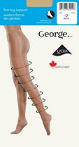 George Ladies' Firm Leg Support Cotton Gusset Reinforced Panty and Toe Pantyhose Beige D