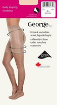 George Ladies' Body Shaping Sheer Leg Cotton Gusset Reinforced Toe Pantyhose Beige C