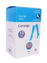 George Ladies' Knee Highs - Pack of 10 Black