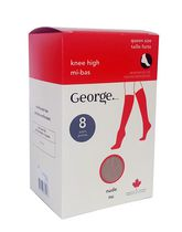 George Ladies'  Queen Knee Highs - Pack of 8 Black