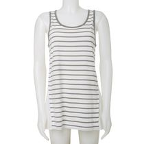 Jordache Women's High Low Stripe Tank Top with Woven Back Sage Green L/G