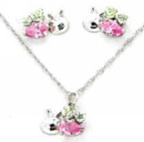 "Sterling silver ""whimzy"" pendant and earring ""Bee"" set with pink and peridot cz on 15"" chain"