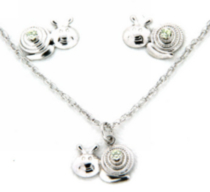 "Sterling silver ""Whimzy"" pendant and earring ""Snail"" set with peridot cz stones"