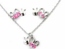 "Sterling Silver ""Whimzy"" pendant and earring ""Bug"" set with pink cz stones"