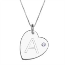 "Sterling Silver Initial ""A"" Heart Pendant with Rhinestone Accent"