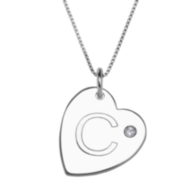 "Sterling Silver Initial ""C"" Heart Pendant with Rhinestone Accent"