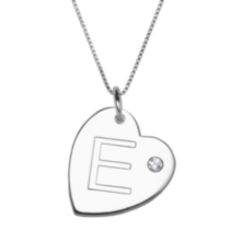 "Sterling Silver Initial ""E"" Heart Pendant with Rhinestone Accent"