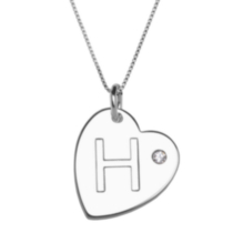 "Sterling Silver Initial ""H"" Heart Pendant with Rhinestone Accent"