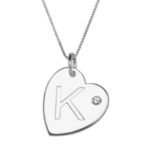 "Sterling Silver Initial ""K"" Heart Pendant with Rhinestone Accent"