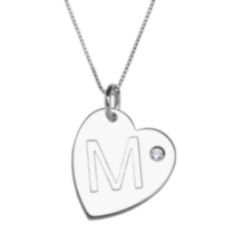 "Sterling Silver Initial ""M"" Heart Pendant with Rhinestone Accent"