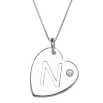 "Sterling Silver Initial ""N"" Heart Pendant with Rhinestone Accent"