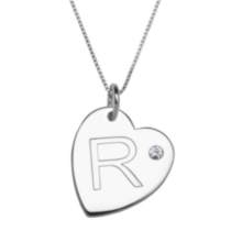 "Sterling Silver Initial ""R"" Heart Pendant with Rhinestone Accent"