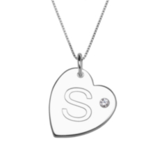 "Sterling Silver Initial ""S"" Heart Pendant with Rhinestone Accent"