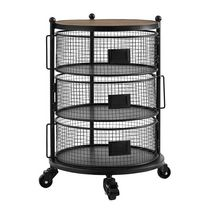 hometrends 3 Tier Round Wire Cart with Wheels