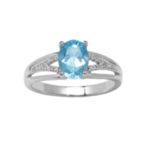Sterling Silver Genuine Blue Topaz Ring with Diamond Accent 6