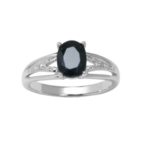 Sterling Silver Genuine Sapphire Ring with Diamond Accent 7