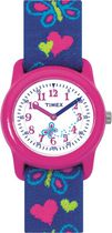 Timex® Kids Pink Case White Dial Purple Strap with Hearts & Butterflies Quartz Analog Watch