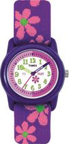 Timex® Kids Purple Case White Dial Purple Strap with Pink Flowers Quartz Analog Watch