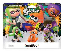 amiibo Inklink Girl, Squid & Boy Alt Colours Splatoon Seires Figure 3-Pack