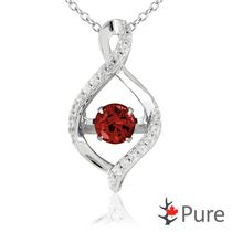 Pure Dancing 1 carat T.G.W. Garnet (5.25mm) Teardrop Necklace surrounded with White Corundum Set in 925 Sterling Silver