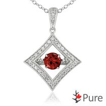 Pure Dancing 1 carat T.G.W. Garnet (5.25mm) Diamond Shaped Necklace surrounded with White Corundum Set in 925 Sterling Silver