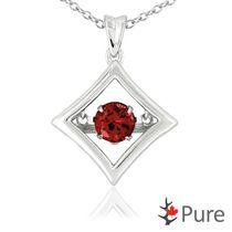 Pure Dancing 1 carat T.G.W. Garnet (5.25mm) Diamond Shaped Necklace Set in 925 Sterling Silver