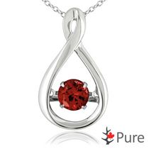 Pure Dancing 1 carat T.G.W. Garnet (5.25mm) Teardrop Necklace Set in 925 Sterling Silver