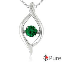 Pure Dancing 3/4 carat T.G.W. Created Emerald (5mm) Teardrop Necklace Set in 925 Sterling Silver