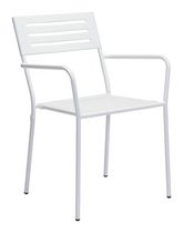 Zuo Modern Outdoor 2-Piece Electro & Powder Coated Metal White Wald Dining Arm Chair