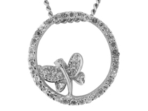 CZ Butterfly Circle of Life Pendant