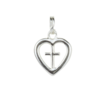 Sterling Silver Heart w/Cross charm