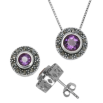 Sterling Silver Marcasite and Genuine Gemstone Pendant and Earring Set - Amethyst