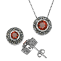 Sterling Silver Marcasite and Genuine Gemstone Pendant and Earring Set