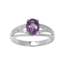 Sterling Silver Genuine Amethyst Ring with Diamond Accent 8