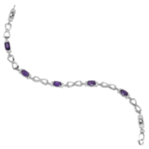 Sterling Silver Genuine Amethyst Bracelet with Diamond Accent