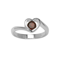 Sterling Silver Heart Rings with Genuine Gemstones Garnet 9