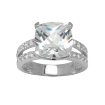 Sterling Silver Cushion Cut Cubic Zirconia Ring 8