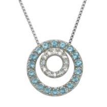 Sterling Silver Cubic Zirconia and Blue Glass Double Circle Pendant
