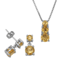 Sterling Silver Genuine Citrine Pendant and Earring Set