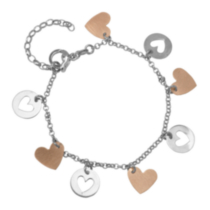 Sterling Silver Two Tone Heart Charm Bracelet