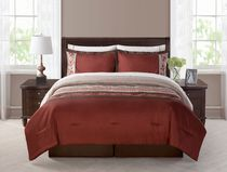 Morocco 8pc Bed In a Bag: King, Burgundy Queen