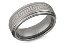 Tungsten with Greek Key Symbol 8mm Mens Ring 11