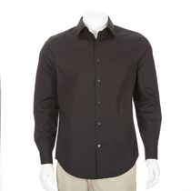 George Men's Long Sleeved Dress Shirt Black L/G