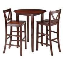 Winsome Fiona 3-Piece High Round Table with 2 Bar V-Back Stool - 94385