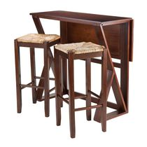 "Winsome Harrington 3-Piece Drop Leaf High Table, 2-29"" Rush Seat Stools - 94393"