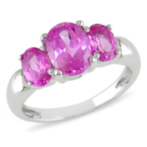 Tangelo 3 1/2 ct Created Pink Oval Sapphire Three Stone Ring in Silver 5