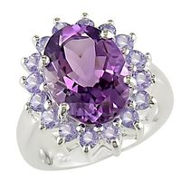 Tangelo 5 7/8 ct Amethyst and Tanzanite Ring in Silver 5.5