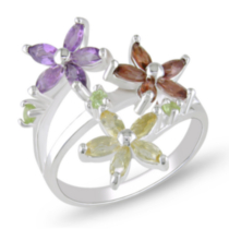 Tangelo Garnet; Citrine; Amethyst and Peridot Flower Shape Ring in Silver 5