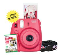 Fujifilm Instax Mini 8 Camera with 10 Exposures & Strap Raspberry