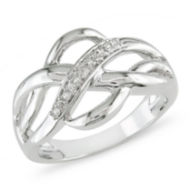 Miabella Bague à diamants 0.05 ct en argent 9